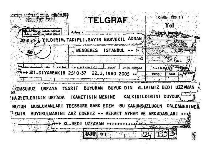 58 yıllık 'Said Nursi'yi vermeyiz' telgrafları 1
