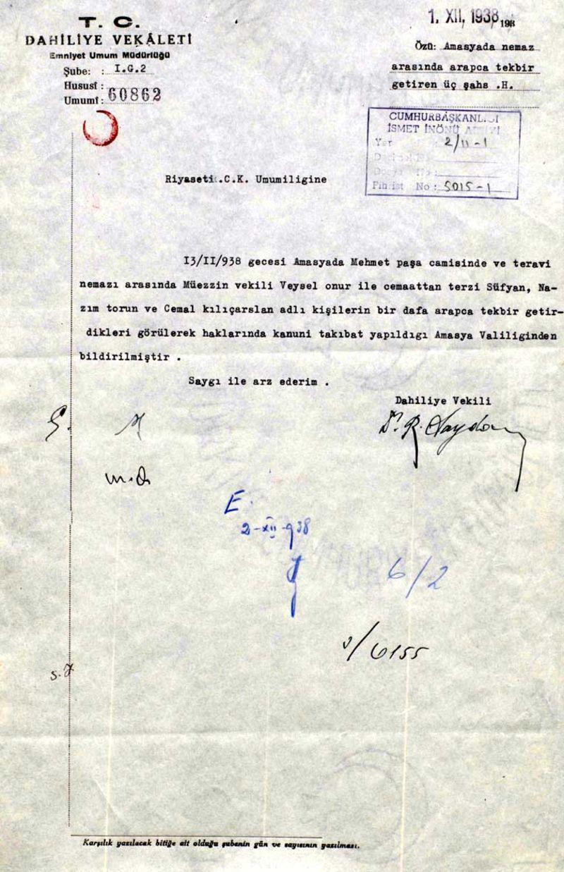Arapça ezan ve Kur'an alfabesini yasaklayan belgeler 1