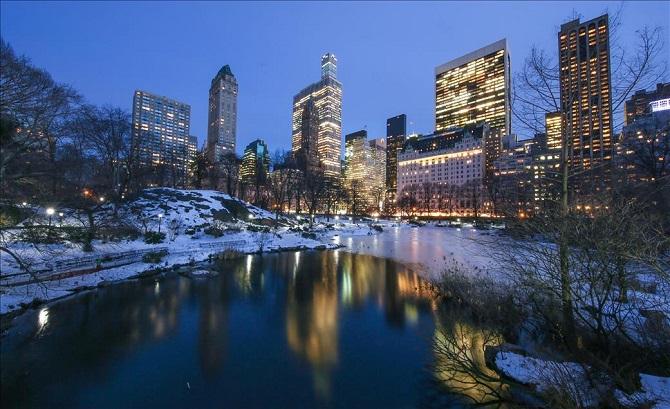 Central Park'ın gölleri dondu 1