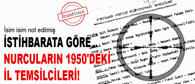 İstihbarata göre Nurcuların 1950'deki il temsilcileri!