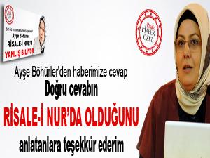 Ayşe Böhürler'den Risale-i Nur açıklaması