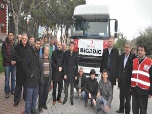 Bigadiç'ten Suriyeli sığınmacılara gıda ve giyecek yardımı