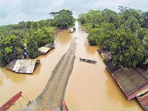 Sel sularından geriye evlerin çatısı kaldı