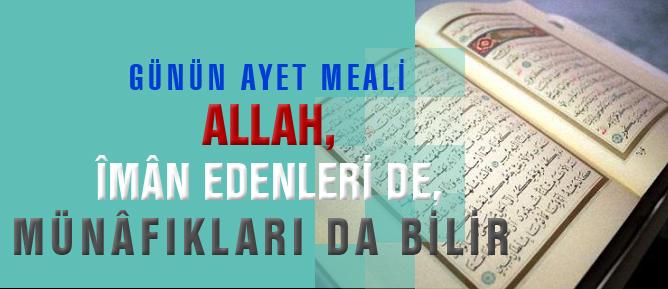 Allah, îmân edenleri de, münâfıkları da bilir