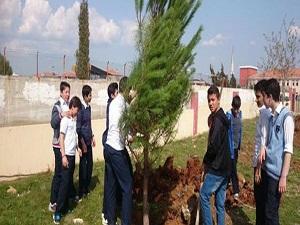 Tablet alan öğrenciler ağaç dikti
