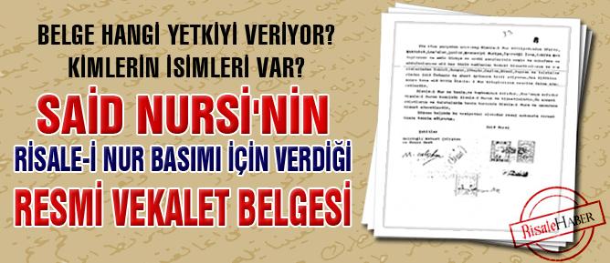 Said Nursi'nin resmi vekalet belgesi