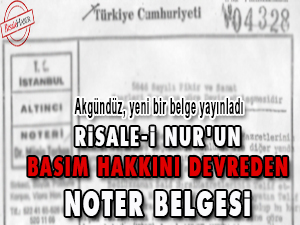 Risale-i Nur'un basım hakkını devreden noter belgesi