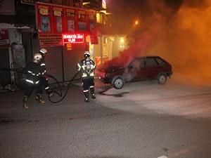 Ereğli'de araç yangını