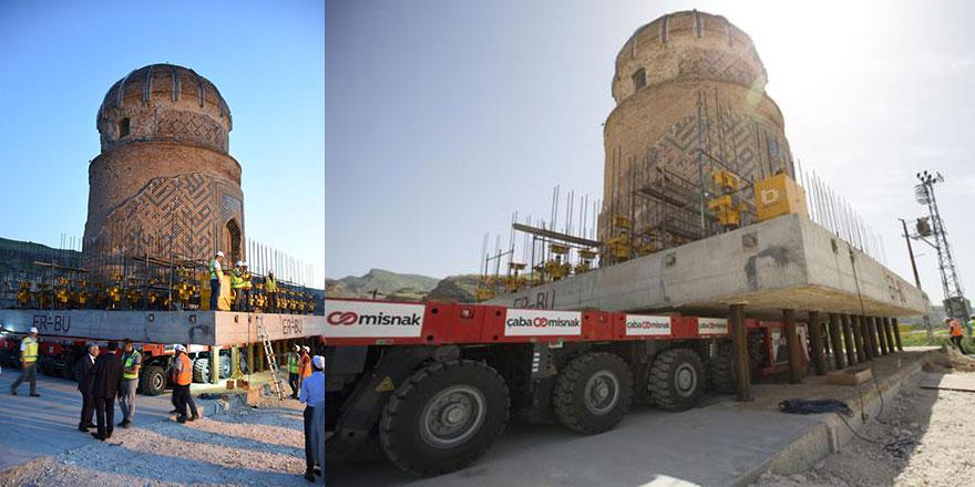 1100 tonluk, 550 yıllık türbe böyle taşındı