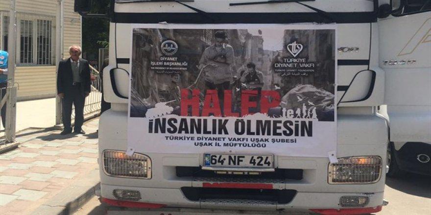 Uşak'tan Halep'e 5 kamyon un