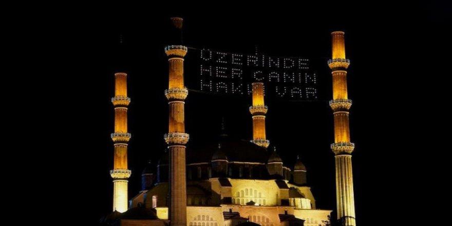 Selimiye'ye 'Üzerinde her canın hakkı var' yazılı mahya