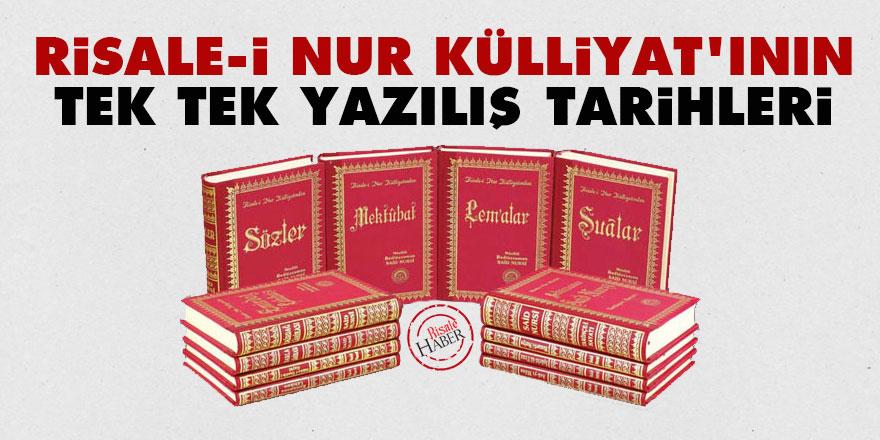 Risale-i Nur Külliyat'ının tek tek yazılış tarihleri