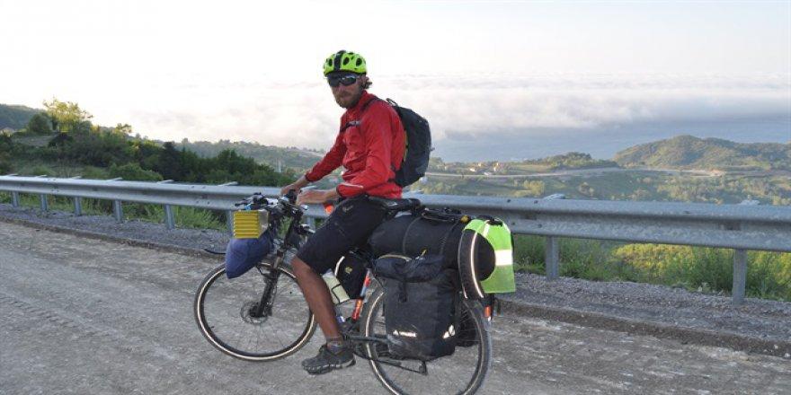 Bisikletiyle dünyayı dolaşan Fransız'ın yeni durağı Bartın