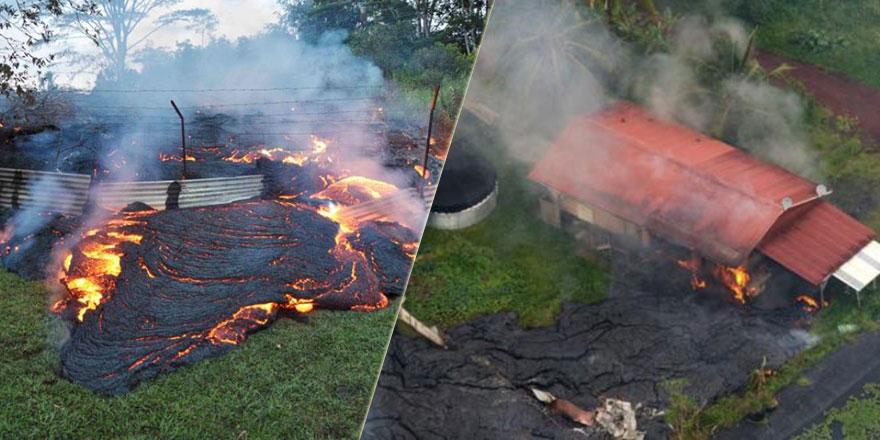 Amerika'da yanardağ patladı, lavlar evleri yutarak ilerliyor