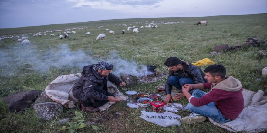 Çobanların iftarı da sahuru da merada geçiyor