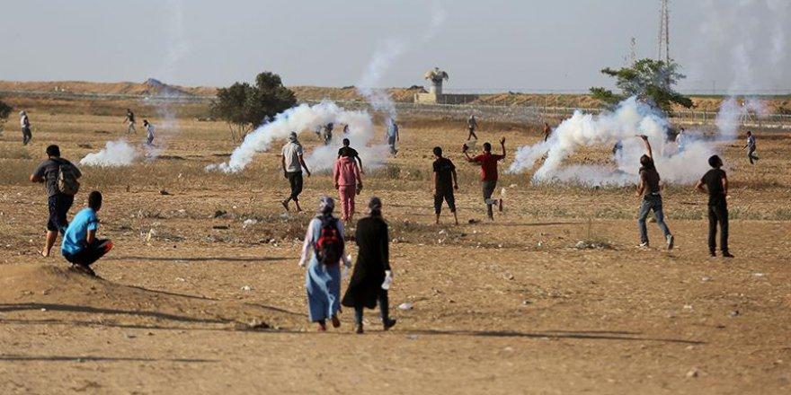 Gazze sınırında 'Milyonluk Kudüs' gösterisi