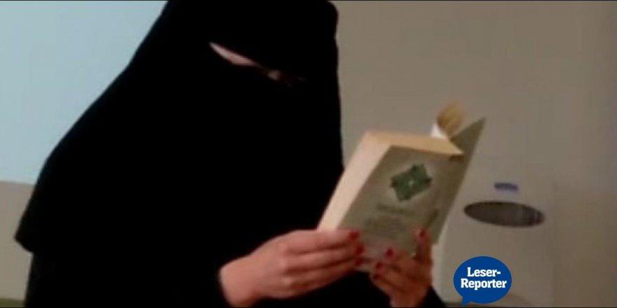 Sınıfta peçe takıp Kur'an okuyan öğretmen tartışılıyor