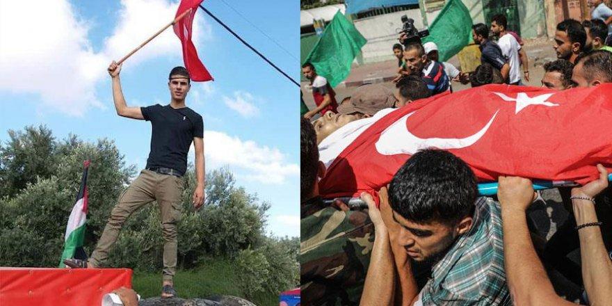 Gazelli şehidin cenazesinde Türk Bayrakları