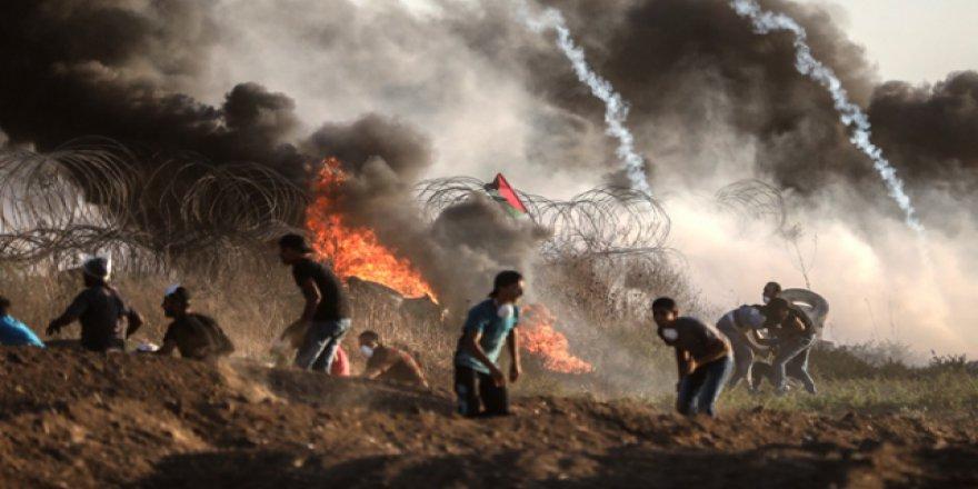 İşgalci İsrail'in barışçıl gösterilere müdahalesinde 11 yaralı var