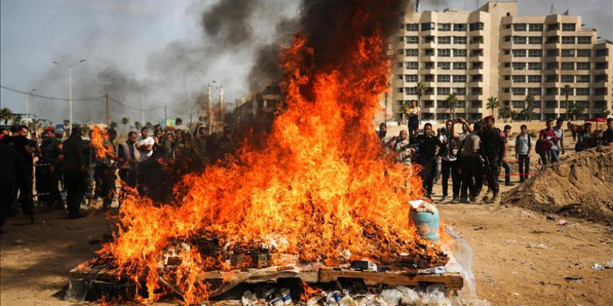 Gazze'de 1 milyon dolarlık uyuşturucu imha edildi