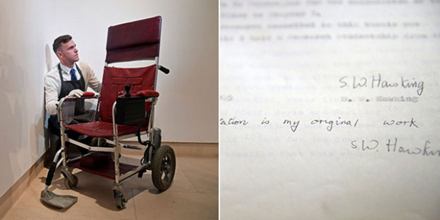 Stephen Hawking'in tezi ve tekerlekli sandalyesi 1 milyon dolara satıldı