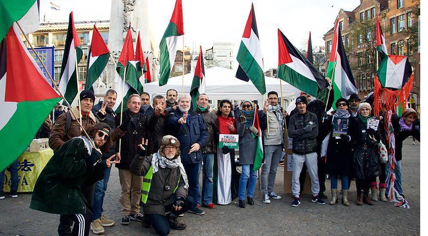 Hollanda'nın Başkenti'nde Filistin'e büyük destek