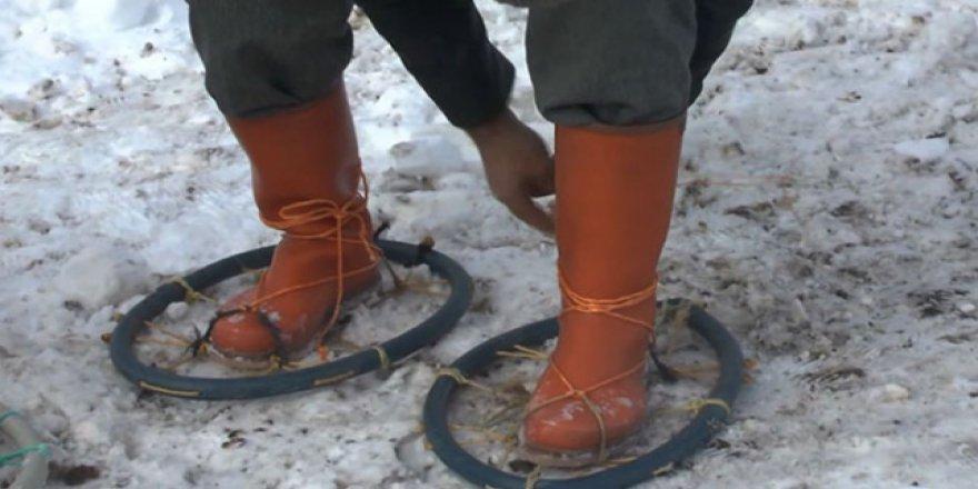 Muşlu köylüler karla mücadelesinde 'hedik' kullanıyor