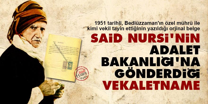Said Nursi'nin Adalet Bakanlığı'na gönderdiği vekaletname