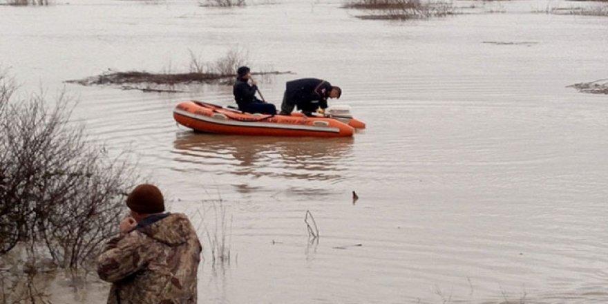Sel suları yükselince koyunlarıyla mahsur kaldı