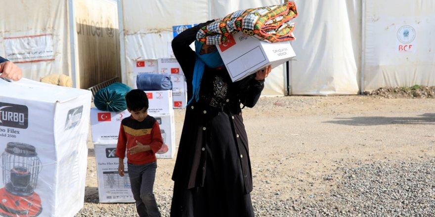 Musullu sığınmacıların kışlık ihtiyaçları Kızılay'dan