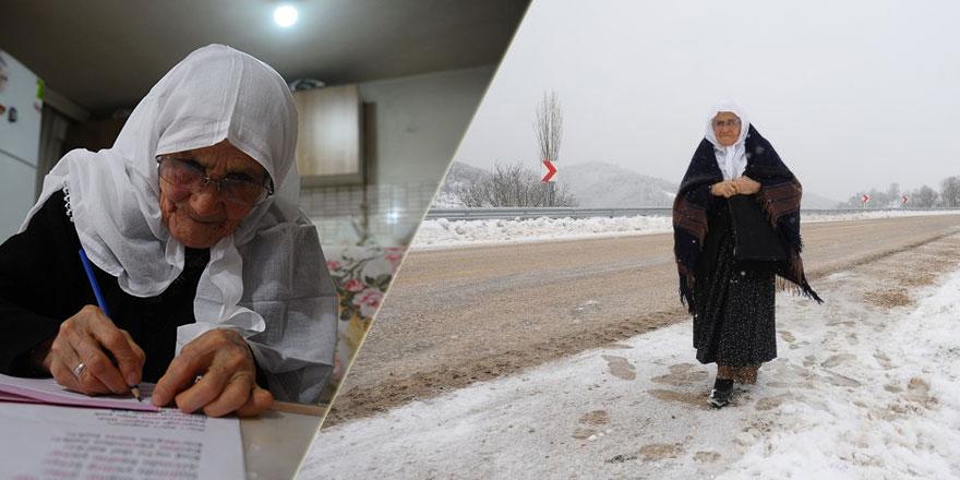 85 yaşındaki nineye Maşallah: Her gün 2 kilometre yürüyerek okuma-yazma öğrendi