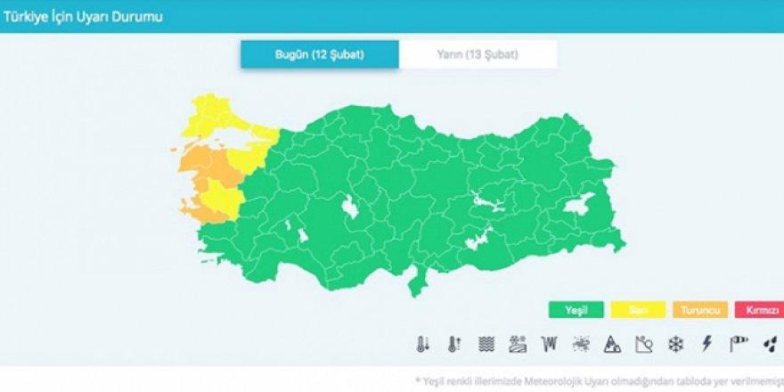 Renkli kodlu ilk meteorolojik uyarı Marmara ve Kuzey Ege için yapıldı