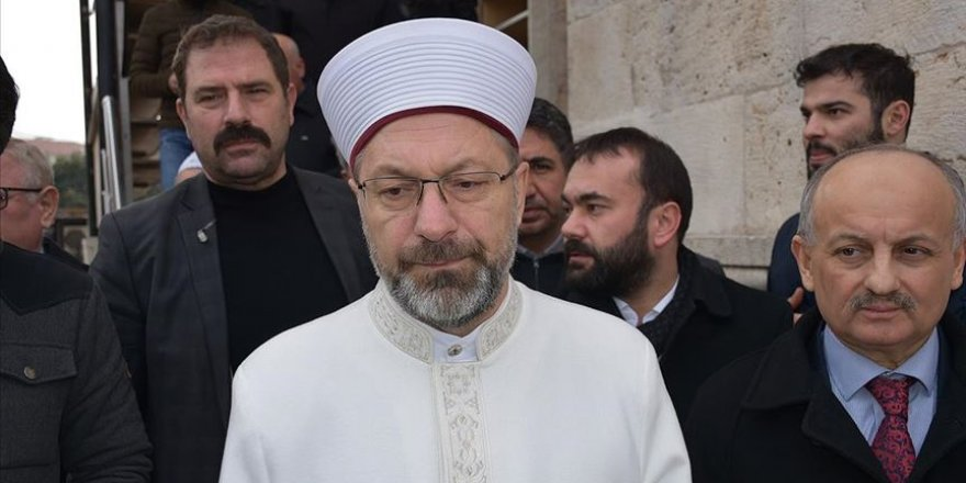 Diyanet İşleri Başkanı Erbaş depremde zarar gören camide incelemelerde bulundu