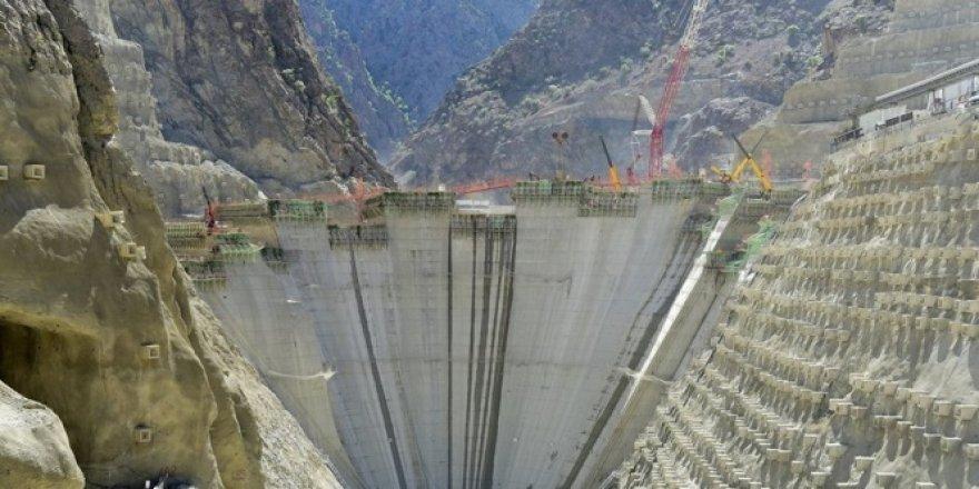 Yusufeli barajı hızla büyüyor
