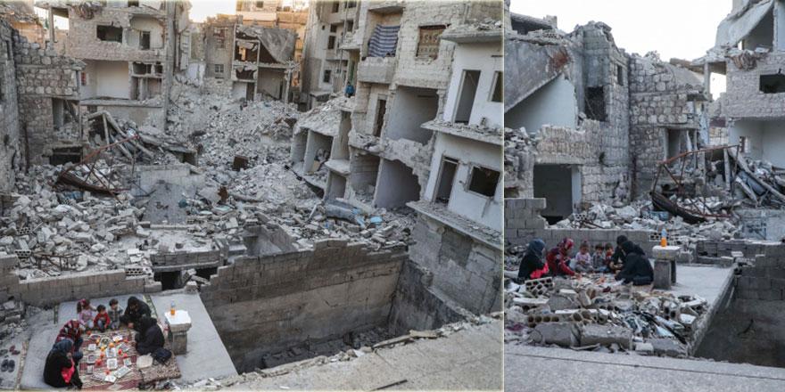Suriye'de enkaz arasında iftar sofrası