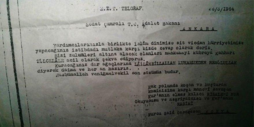 Darbeci generale gönderilen 'ebedi Nurcu' telgrafı