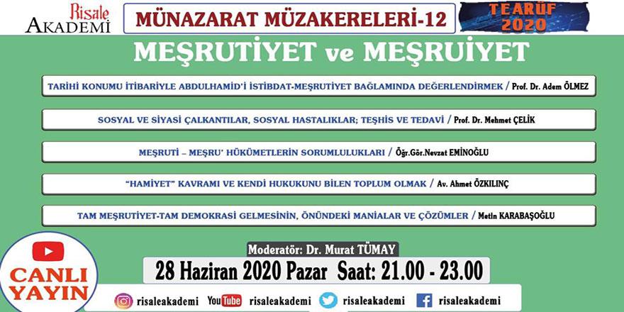 Münazarat Müzakereleri'nin 12. programı canlı yayınlanacak