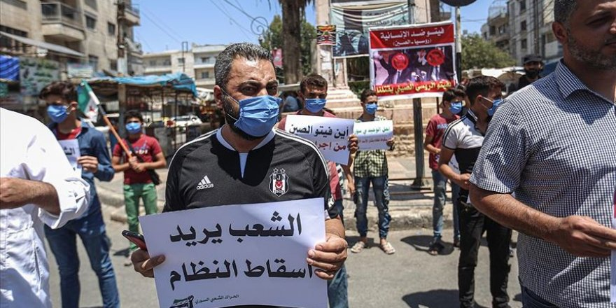 Rusya'nın sınır ötesi BM yardımlarını engelleme İdlib'de protesto edildi
