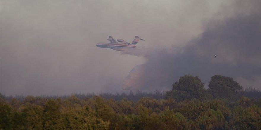 Edirne'de orman yangınına havadan müdahale ediliyor