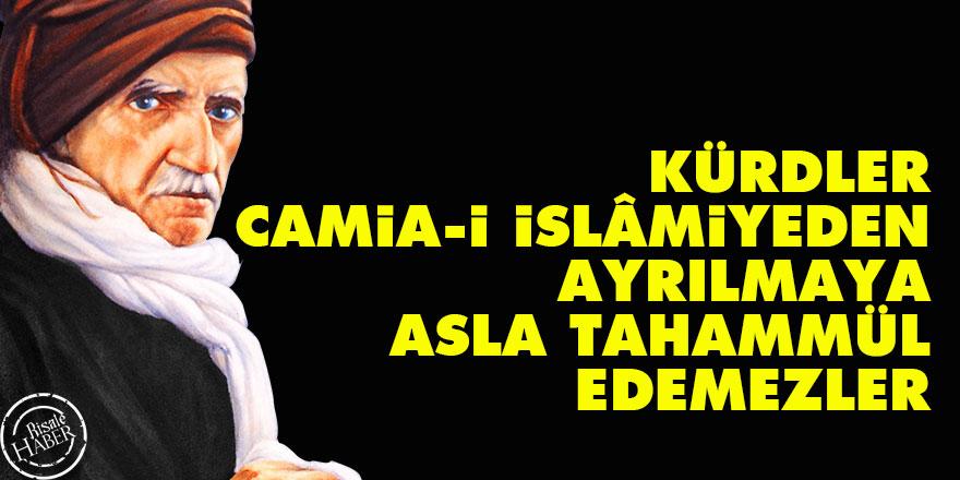 Bediüzzaman: Kürdler camia-i İslâmiyeden ayrılmaya asla tahammül edemezler