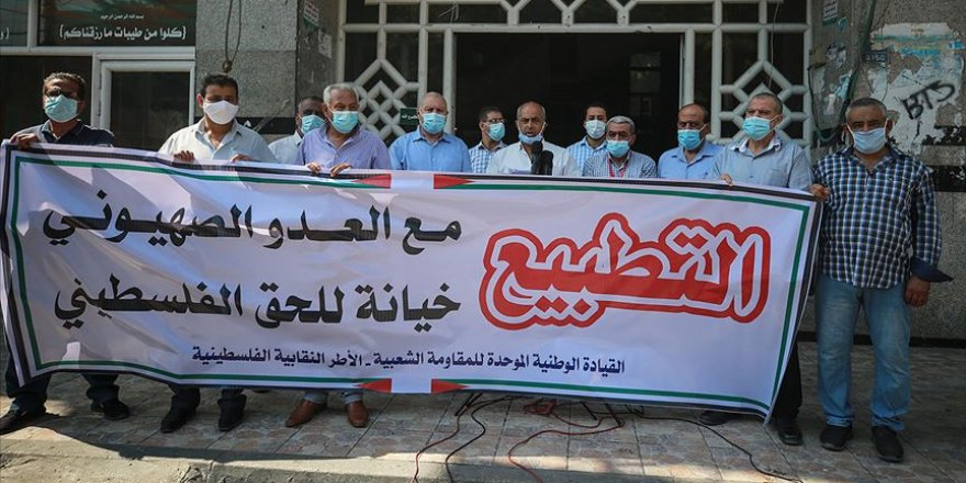 İsrail'in BAE ve Bahreyn'le imzaladığı normalleşme anlaşmaları Gazze'de protesto edildi