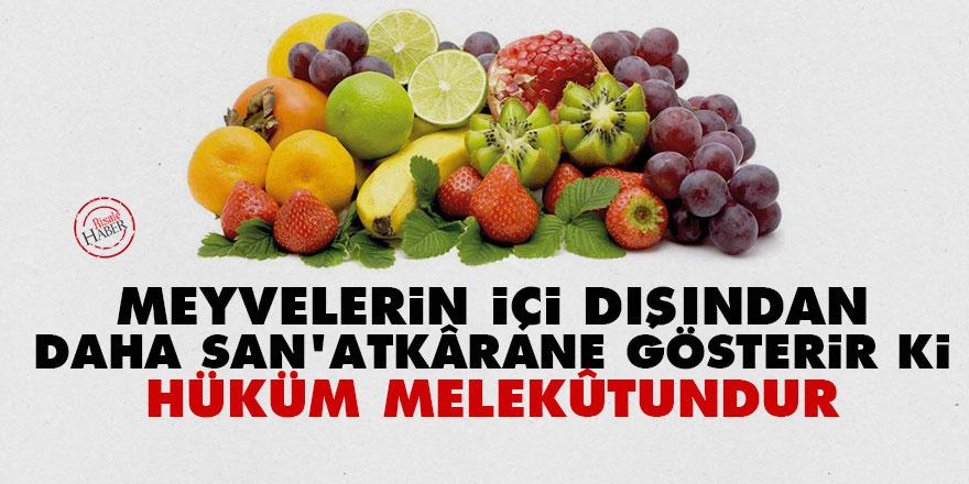 Bediüzzaman: Meyvelerin içi dışından daha san'atkârane gösterir ki hüküm melekûtundur