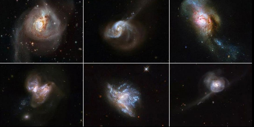 Çok sayıda galaksinin şiddetli çarpışmasından çıkan manzara