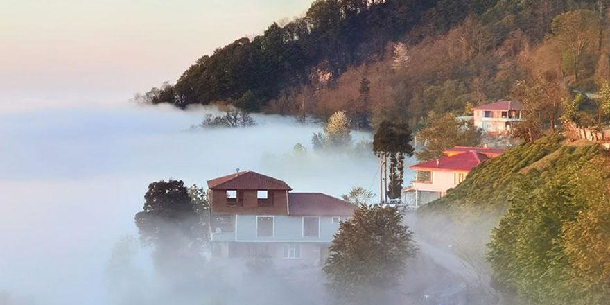 Bulut denizindeki köyden çok güzel görüntüler