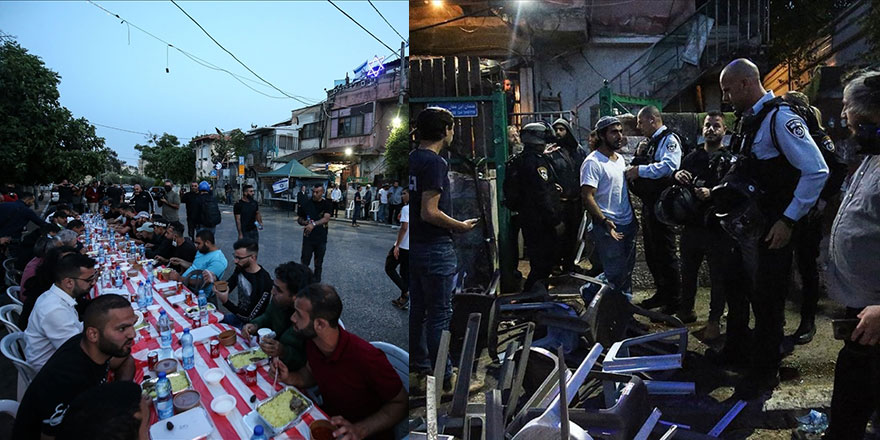 İşgalci İsrailliler iftar yapan Filistinlilere saldırdı, iftar sofrası dağıldı