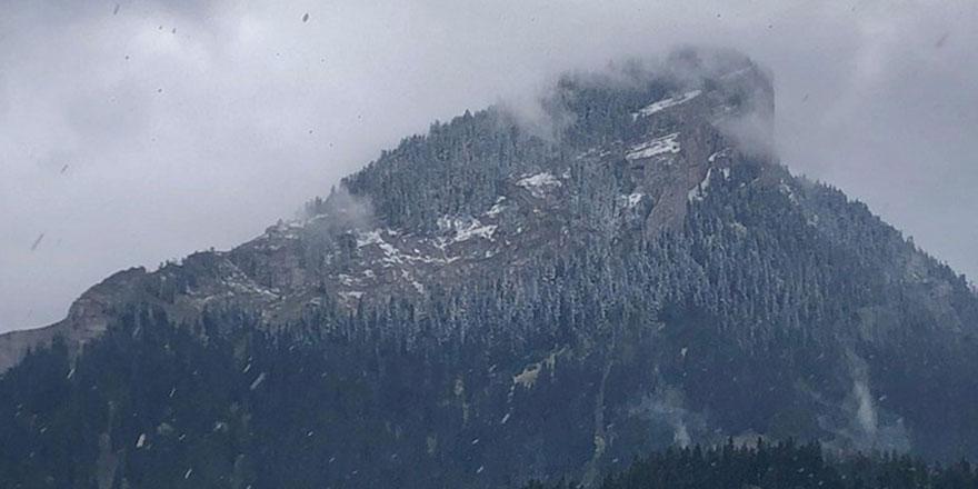 Ilgaz ve Yaralıgöz dağlarına ilkbaharda kar yağdırıldı