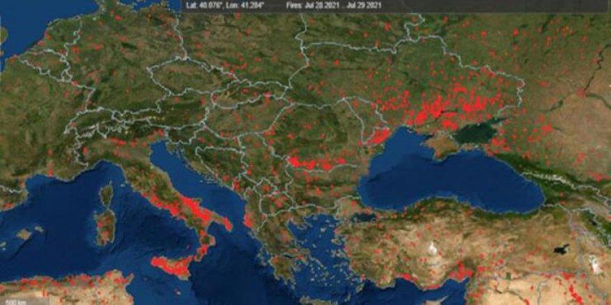 NASA Türkiye'deki orman yangınlarının uydu görüntülerini paylaştı