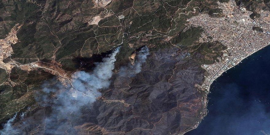 Manavgat ve Marmaris'teki orman yangınları uzaydan görüntülendi