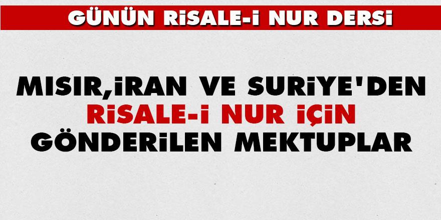 Mısır, İran ve Suriye'den Risale-i Nur için gönderilen mektuplar