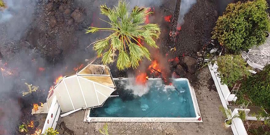 Subhanallah! La Palma Adası'nda patlayan lavlar 33 günde 2 bin 185 binayı yuttu